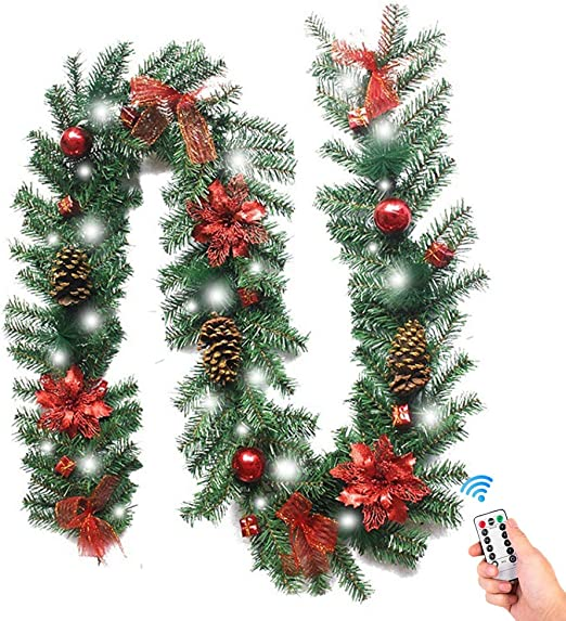 9FT Christmas Garland Artificial Xmas Wreath /& 200 LEDs String Lights Warm White