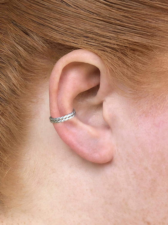 fake conch piercing no piercing cartilage earring fake ear piercing Minimalist silver ear cuff double hoop earring silver conch hoop