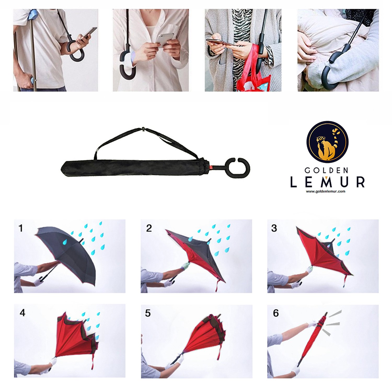 5a8715f7c5 Paraguas Invertido GOLDEN LEMUR Asa Suave en C Alta Calidad Regalo:Bolsa Paraguas  Inverso Original Reversible de Colores de Mujer y Hombre ...