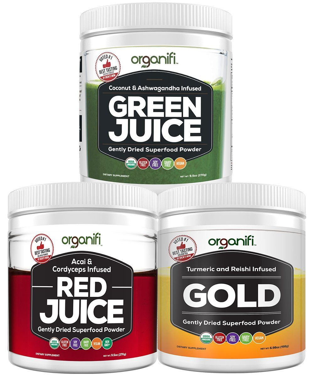 Organifi: Sunrise to Sunset Power Box (9.5 Oz. Each) - Superfood Powder - Green Juice, Red Juice, Golden Milk- 30 Day Supply - Made to Boost Metabolism, Natural Energy, and Sleep - Organic and Vegan by Organifi