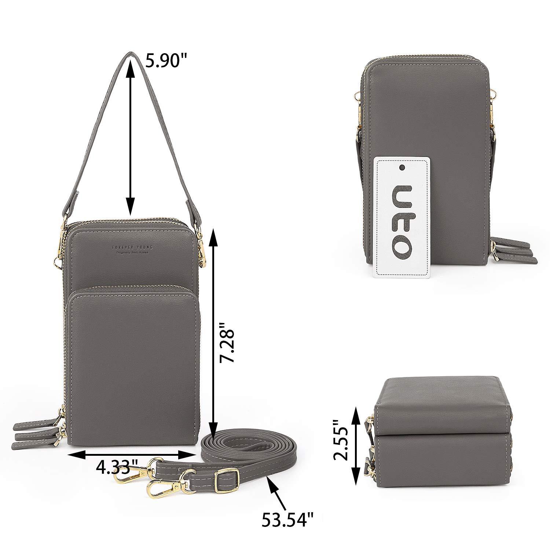 UTO Kvinnor Cross Body Bag enkel axelväska flera kortplatser trippel blixtlåsfickor 2 avtagbara remmar PU-läder Grå