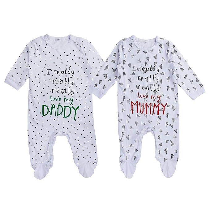 Amazon.com: aomomo Unisex-Baby Newborn larga Romper I Love ...