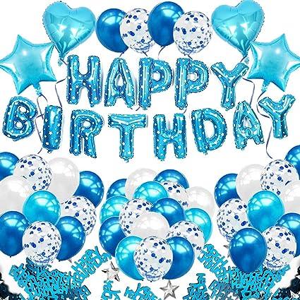 SNOWZAN 10.geburtstags deko junge Geburtstagsdeko Blau Jungen folienballon buchstaben blau geburtstag luftballon Blau Ballon Geburtstag Blau Happy Birthday Girlande Geburtstag Deko f/ür M/ädchen Jungen