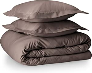 Bare Home Luxury 4 Piece Duvet Insert + Duvet Cover Set - Premium 1800 Ultra-Soft Brushed Microfiber - Hypoallergenic, Easy Care, Wrinkle Resistant (Full/Queen, Taupe)