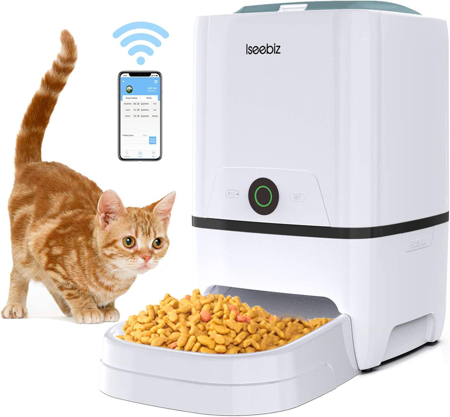 SEISSO Smart Pet Feeder with WiFi, Automatic Cat Feeder Large Capacity Dog Food Dispenser, WiFi Cellphone APP Program Feeding