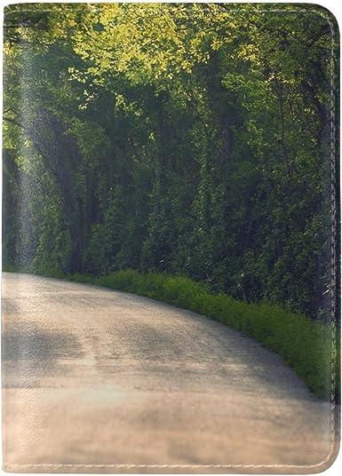 Leaves Grass Light Shape Leather Passport Holder Cover Case Travel One Pocket
