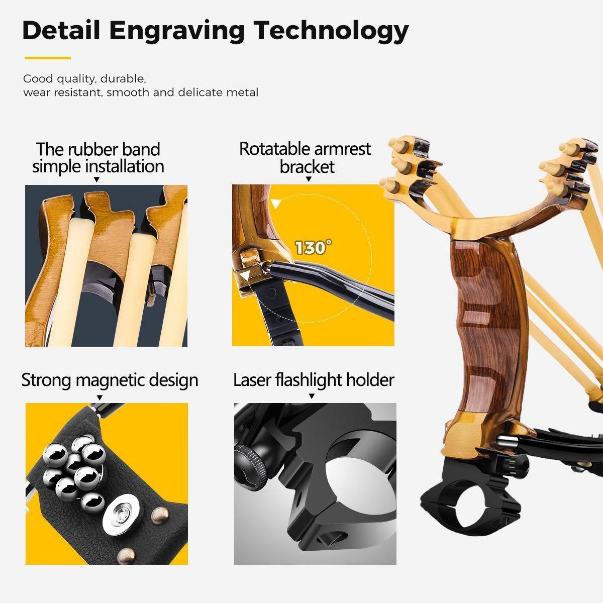 ucho Professional Slingshot Set, Wrist Rocket Slingshot, Sling Shot with 2 Rubber Bands (100 Ammo), Outdoor Hunting Slingshot for Catapult Game