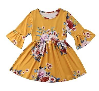 acdb5695d Amazon.com  Toddler Kids Baby Girl Ruffle 3 4 Long Flare Sleeve ...