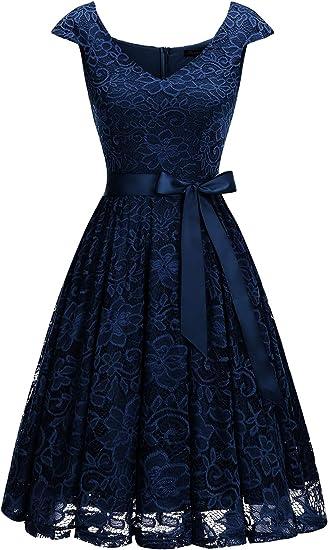 TALLA M. Meetjen Mujeres Vestido Corto De Encaje De Fiesta Cuello En V Vestido De Coctel Azul Marino M