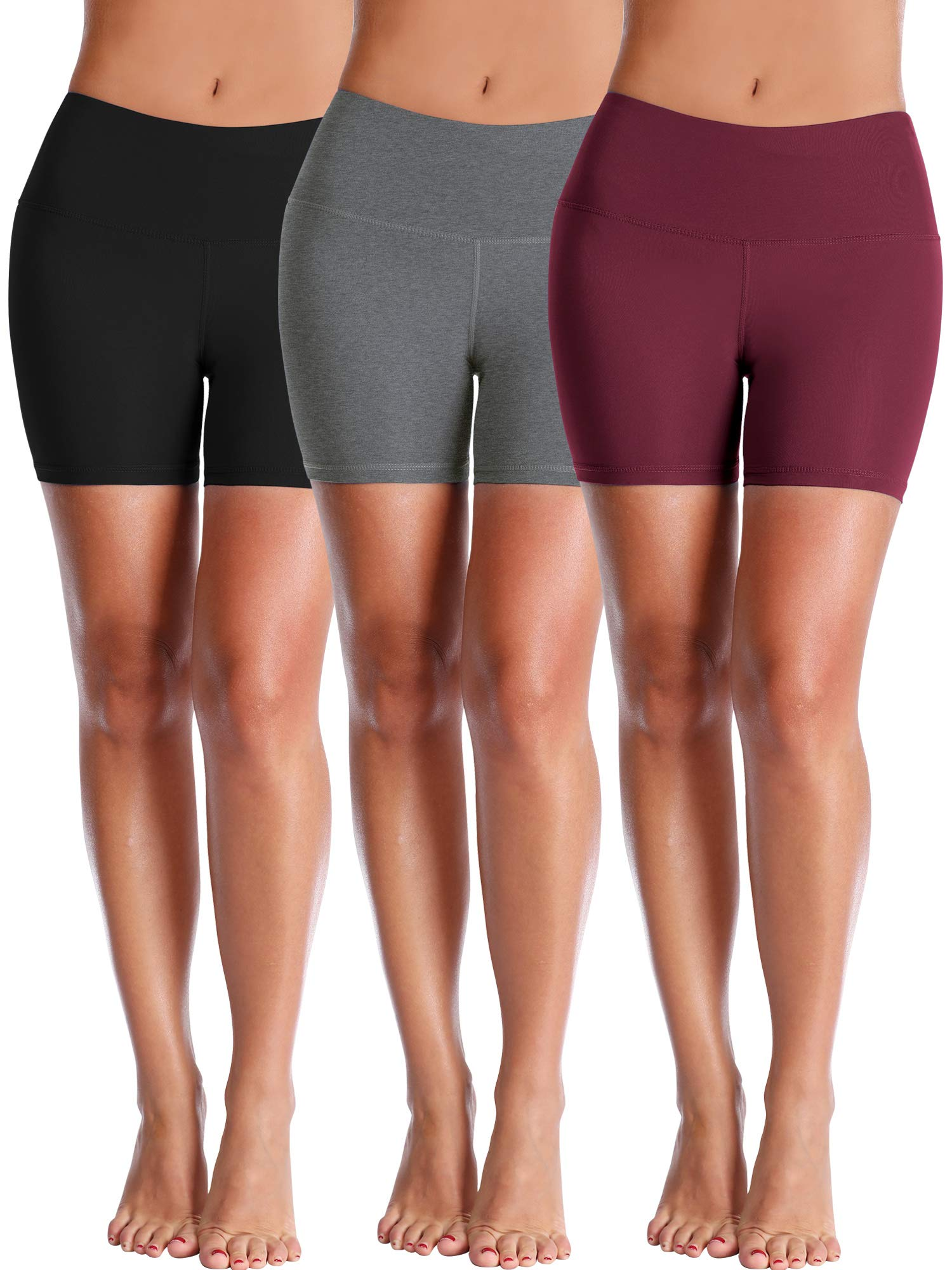Cadmus Women's High Waisted Compression Shorts,3 Pack,1025,Black,Grey,Wine Red,Small by Cadmus