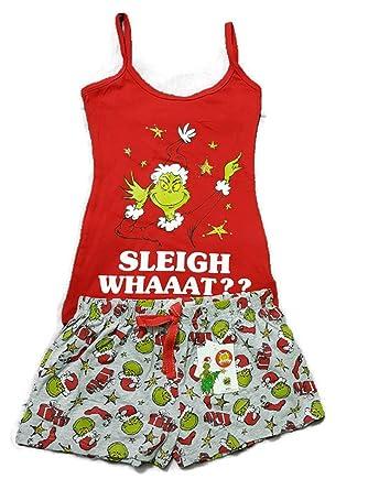 The Grinch Dr. Seuss Ladies Christmas Sleigh Whaaat     Pajama Short Cami  Vest e54373a5846