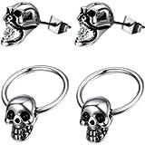 4pcs Mens Womens Stainless Steel Cubic Zirconia Charm Punk Rock Gothic Skull Earring Studs,Hoop Dangle Earrings