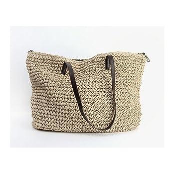 Amazon.com: Bolsa de playa de pajita de verano para mujer ...