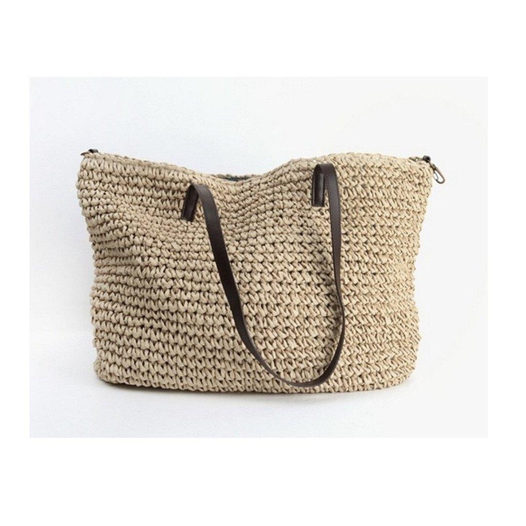 Summer Women Durable Weave Straw Beach Bag Feminine Linen Woven Bucket Bag Grass Casual Tote Handbags Knitting Rattan Bags Hobos beige