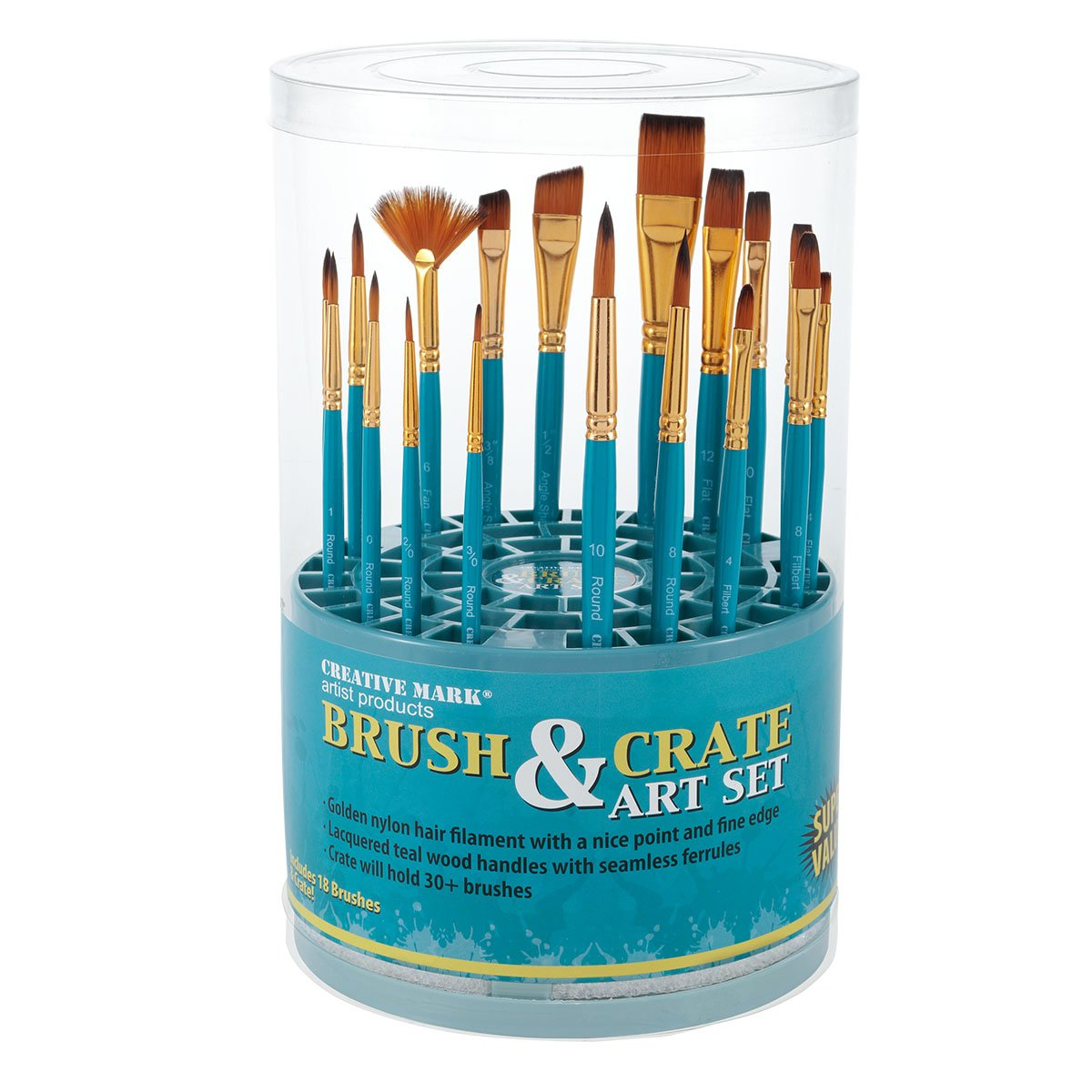 Artist Paintbrush Set - 18pc Professional Quality Short Handle Paint Brushes for Acrylic, Oil, Craft, Hobby Painting with Multi-Use Crate Organizer by Creative Mark
