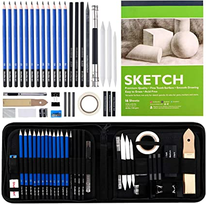37-Piece Professional Sketch Pencils Set in Zipper Carry Case Art Supplies Drawing Set with Graphite Charcoal Sticks Tool Sketch book for Adults Kids by Shuttle Art Sketching and Drawing Pencils Set