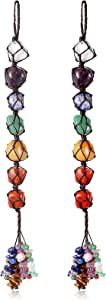 Syhood 2 Pieces 7 Chakra Gemstones Crystal Healing Hanging Ornament, Good Luck Indoor Home Wall Decoration, Feng Shui Ornament, Car Window Decoration, Christmas Trees Ornament