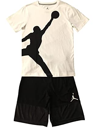 6588513ba2990c Jordan Youth Boys Two 2 Piece Jumpman T-Shirt Tee and Colorblocked Shorts  Size Large