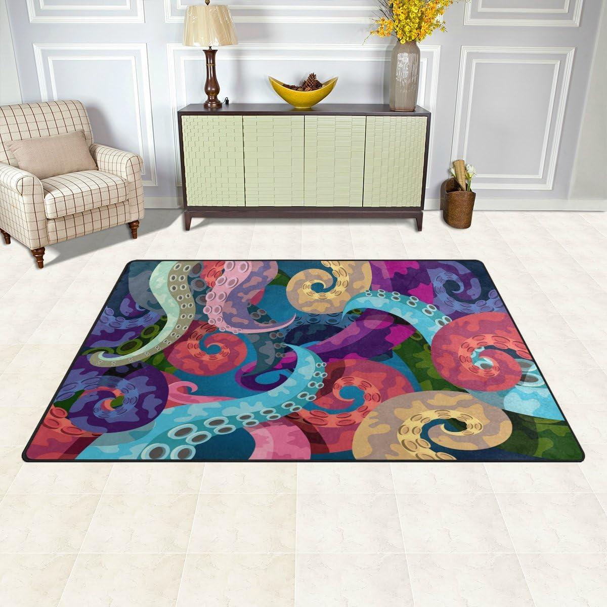 WOZO Colorful Abstract Octopus Kraken Area Rug Rugs Non-Slip Floor Mat Doormats for Living Room Bedroom 60 x 39 inches