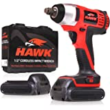 Hawk Tools 1/2 Inch Drive 18 Volt Li-Ion Cordless Electric Socket Power Impact Driver Wrench Tool