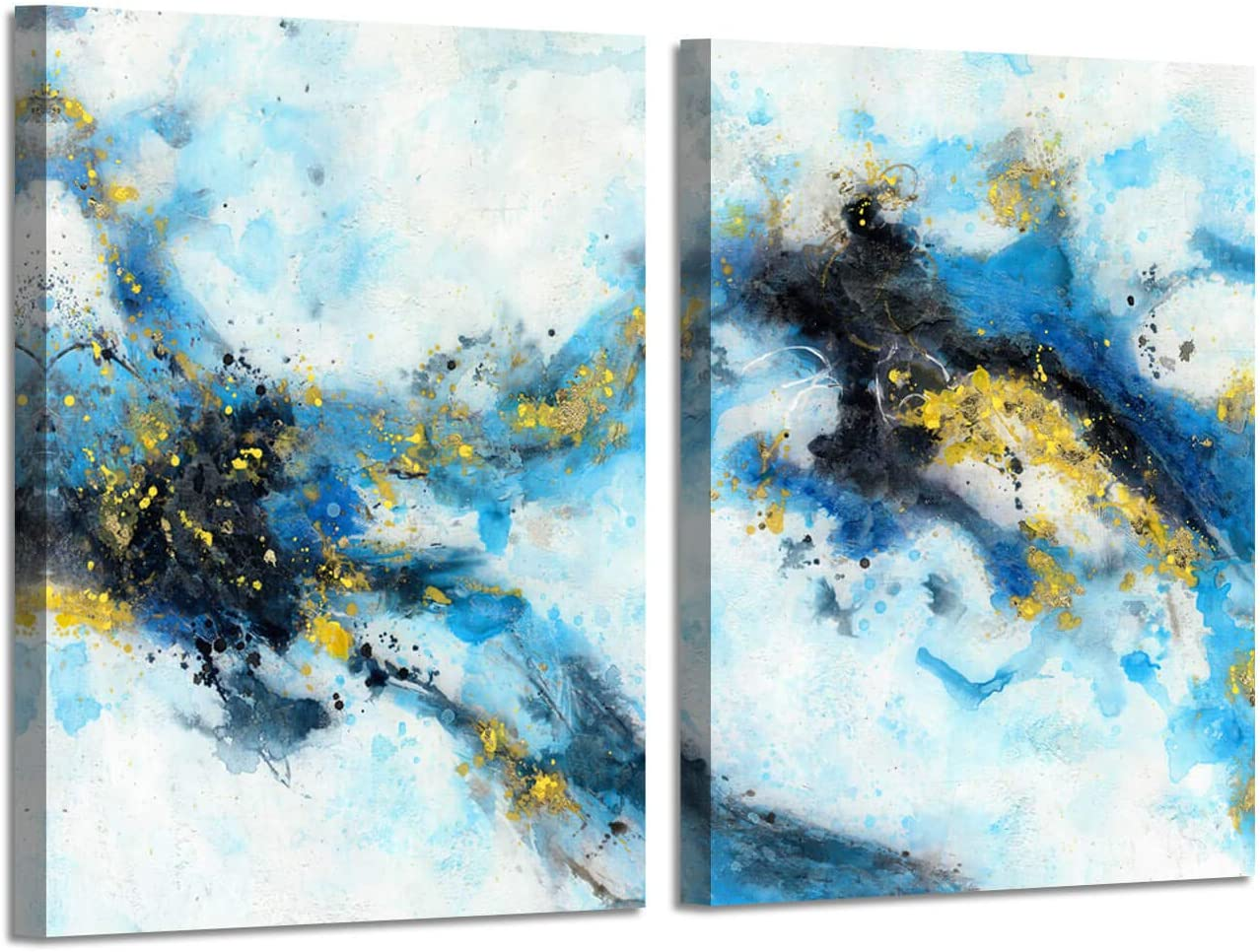 """Abstract Art Blue Picture Prints: Splashing Ink Artwork with Gold Foil Painting Wall Art on Canvas for Living Room (18"""" x 24"""" x 2 Panels)"""