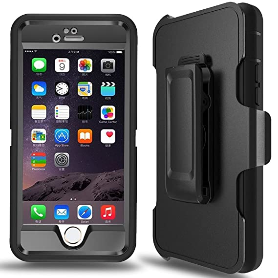 online retailer 2dba8 1fb23 MBLAI Defender Series Case for iPhone 6 Plus,iPhone 6s Plus Case Built-in  Screen Protector 4 Layers Rugged Rubber Shockproof with Belt-Clip Case  Cover ...