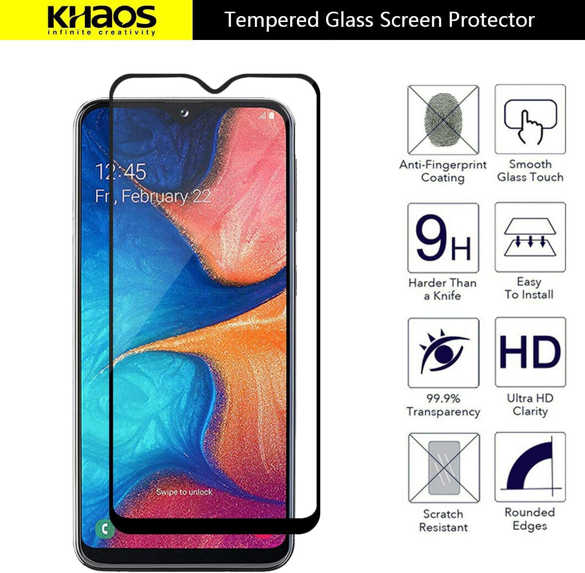 Full Cover 6 Pack Anti Scratch Black MetroPCS Tempered Glass Screen Protector, Khaos for Samsung Galaxy A20E //A10E// A102 Bubble Free
