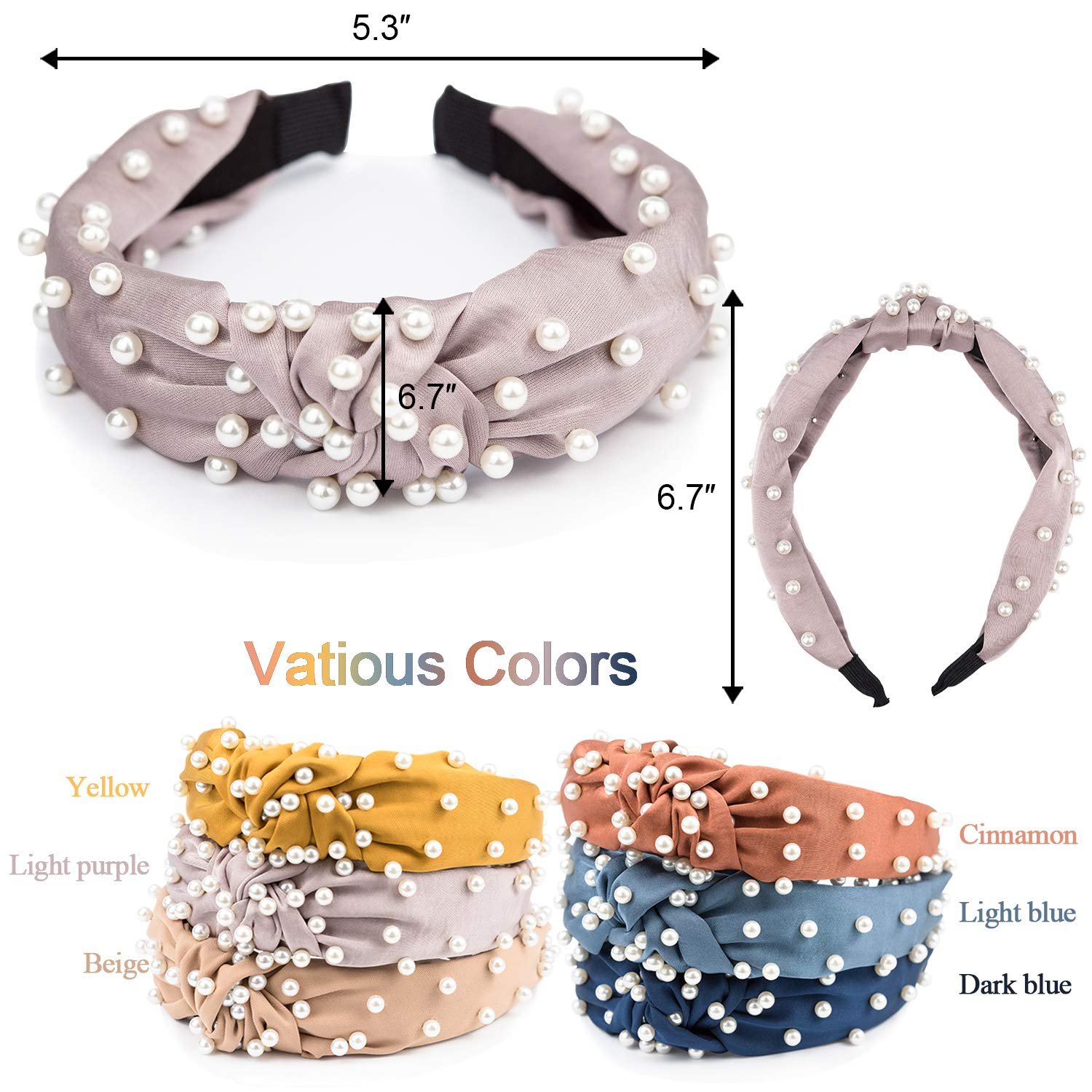 EAONE Pearl Headbands Knotted Headbands for Women 6 Colors, Knot Turban Headband Fashion Hair Bands Wide Headbands Hair Accessories for Girls with 1 Pouch Bag : Beauty