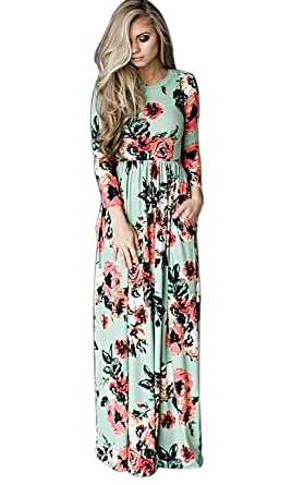 fed8ce33729 IHAYNER Women s Floral Printed Long Dress Vintage Flower Casual Floor  Length Maxi Dress Green S