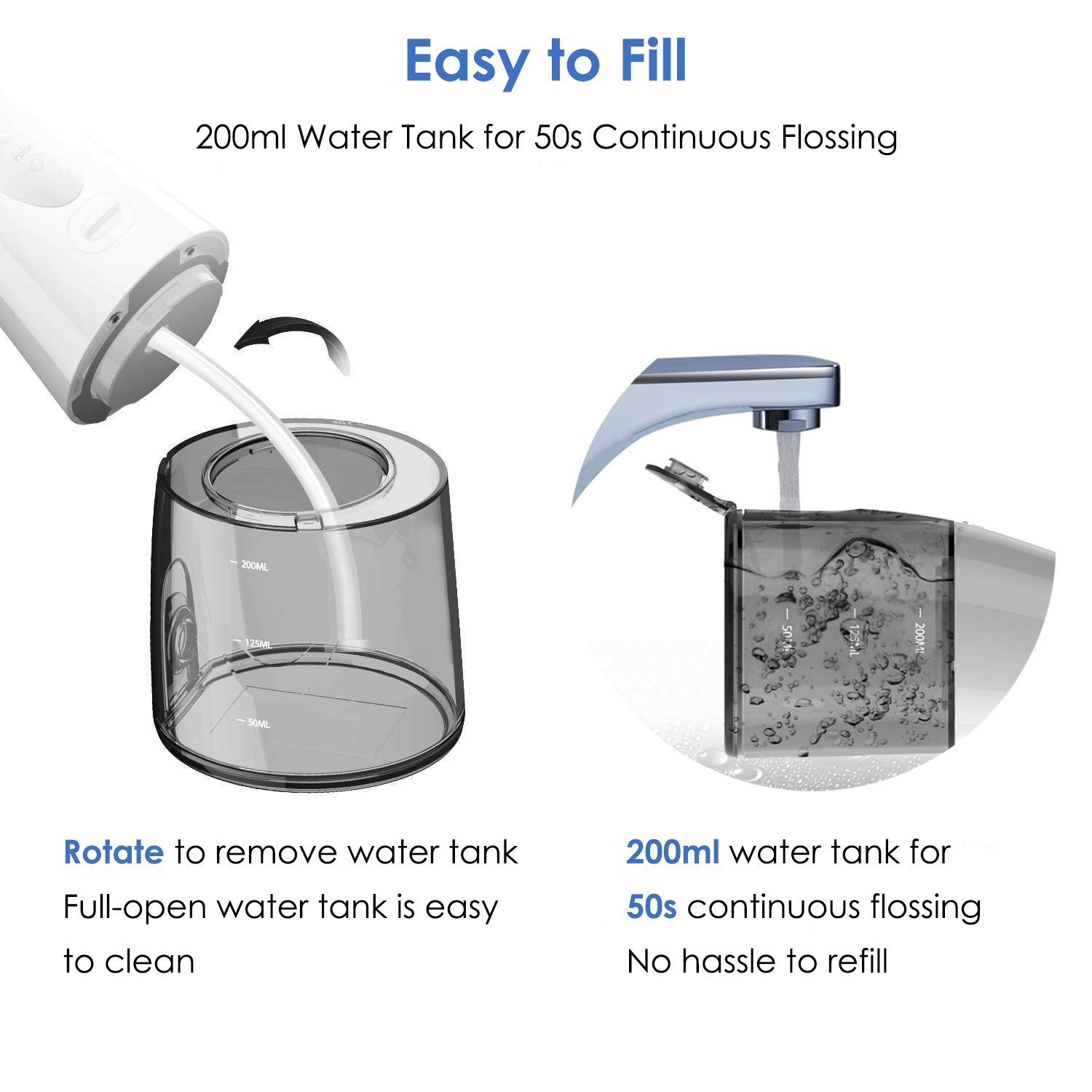Cordless Water Flosser Teeth Cleaner - Zerhunt High Plus Rechargable Portable Oral Irrigator for Travel, IPX7 Waterproof Dental Water Jet for Shower with 3 Interchangeable Jet Tips by Zerhunt (Image #5)