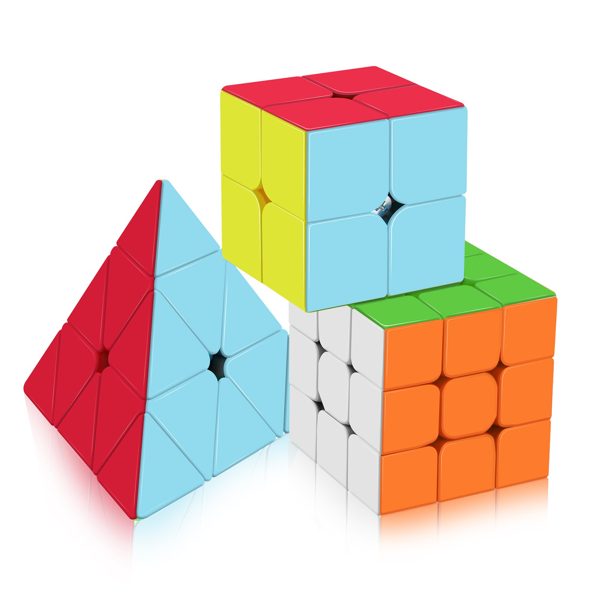 Speed Cube Set,Vdealen Professional Magic Cube Set of 2x2x2 3x3x3 Stickerless Pyramid Puzzle Cube Bundle of Puzzle Toys by Vdealen