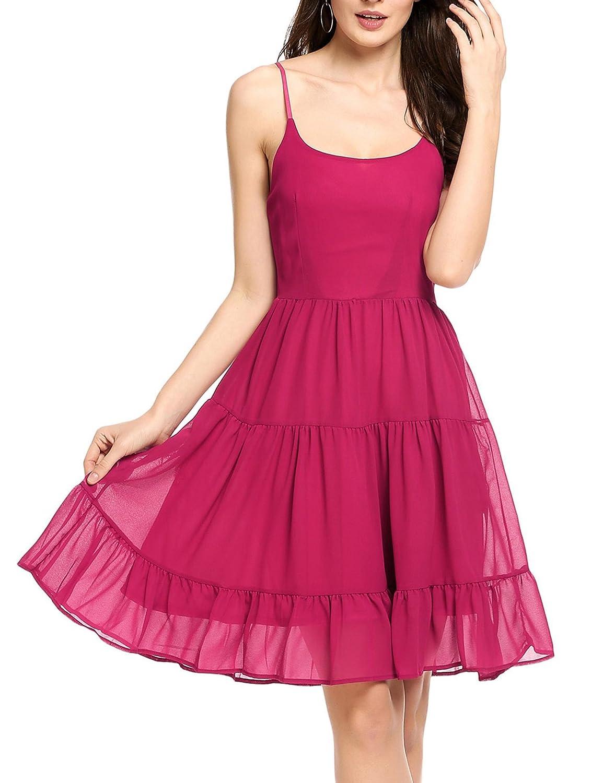 5f67f435eb Zeagoo Women s Sleeveless Adjustable Strappy Chiffon Casual Party Swing  Dress ZTH010854