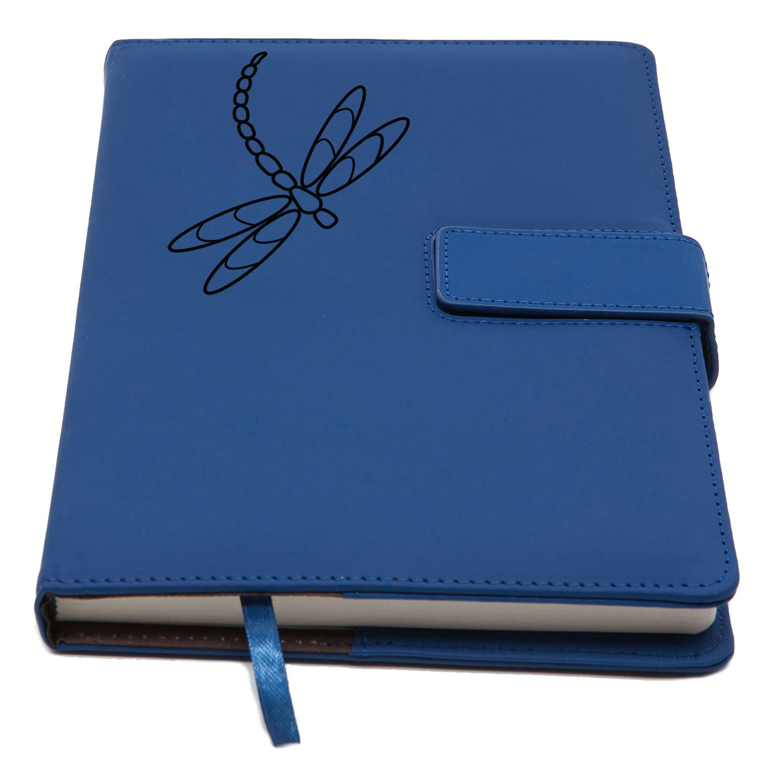 The Dragonfly Refillable Writing Journal | Faux Leather Cover, Magnetic Clasp + Pen Loop | Blank Notebook | 200 Lined Pages, 5 x 8 Inches for Travel, Personal, Poetry | Blue | The Amazing Office by The Amazing Office (Image #1)