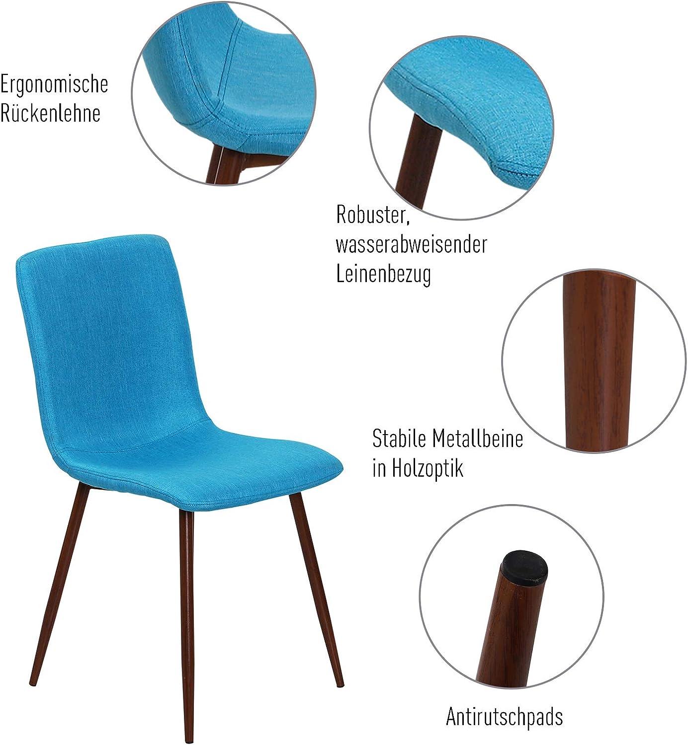HOMCOM 2er Set Esszimmerstuhl Küchenstuhl Wohnzimmerstuhl Polsterstuhl Leinenbezug Metallbeine Blau 43 x 56,5 x 85 cm