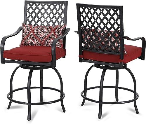 PHI VILLA Patio Bar Stools Set of 2 Outdoor High Patio Dining Swivel Chair