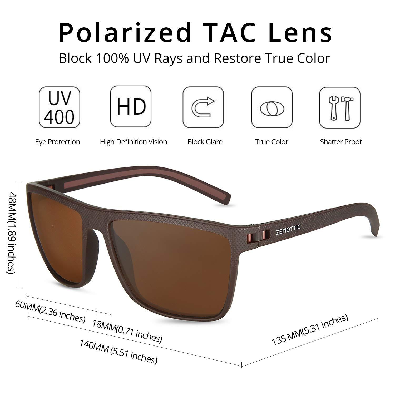 f1348deb05 ZENOTTIC Men Square Sunglasses Polarized Lightweight TR90 UV Sun Glasses  BT6204 (Brown Frame Brown Polarized Lens) at Amazon Men s Clothing store