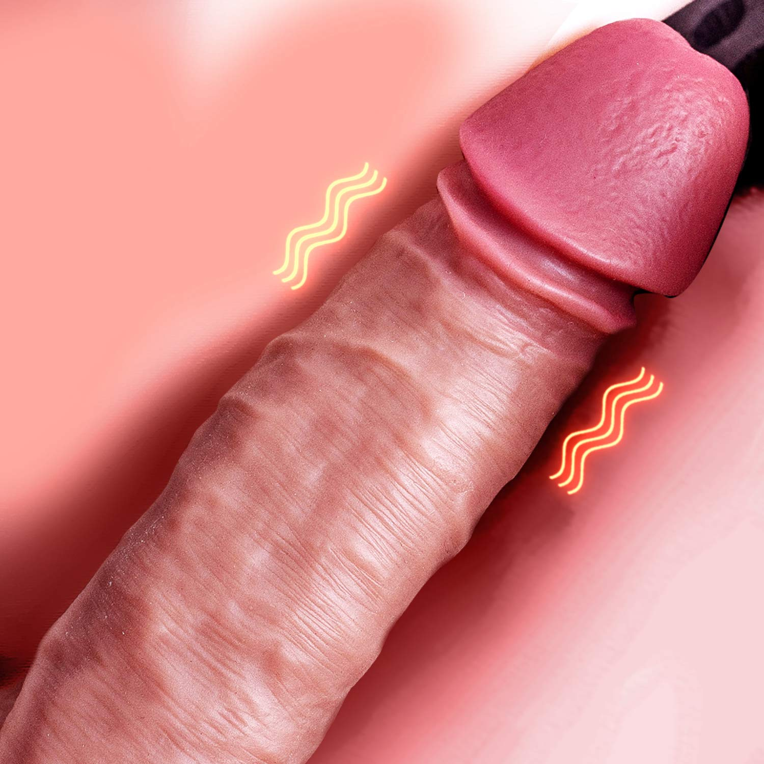 Vibrating Realistic Double-Layer Large Dildo, Remote Remote Control Vibration Heating Soft Silicone with Suction Cup,Vibrator Simulating Anal Penis, Didlos for Sex Women