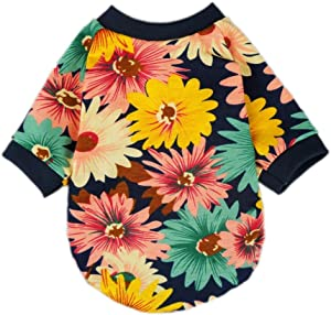 Fitwarm Fashion Summer Floral Dog T-Shirt for Pet Dog Clothes Cozy Apparel