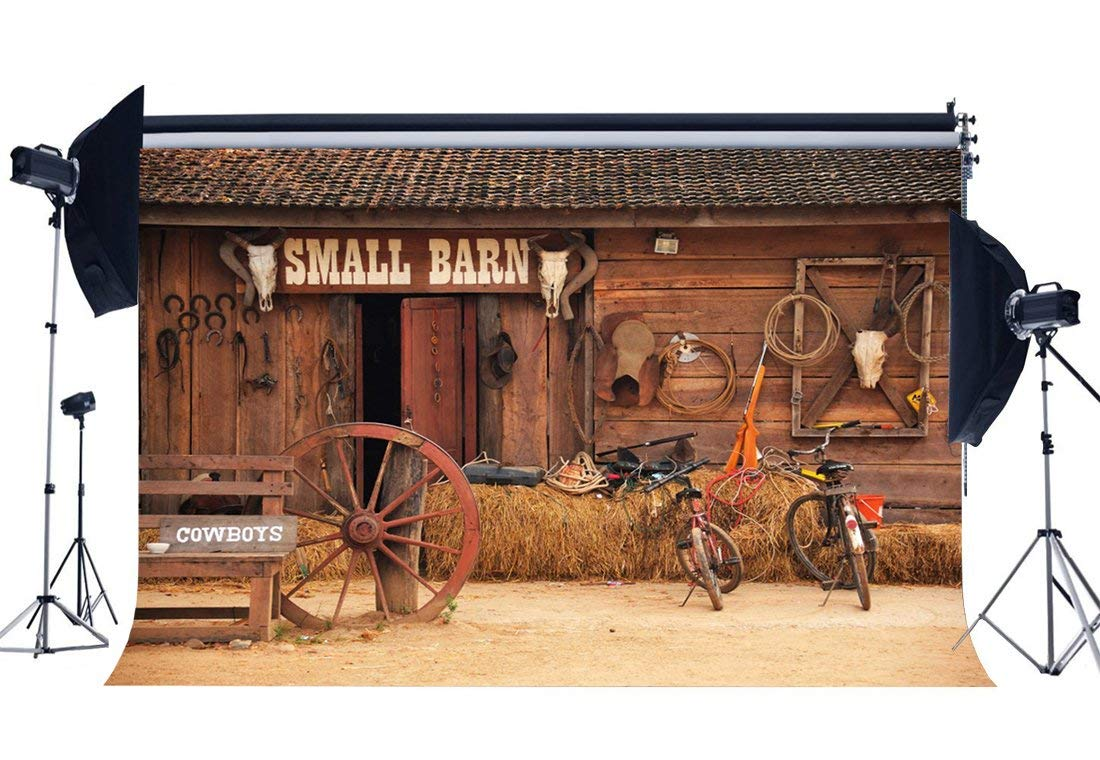 Gladbuy Vinyl Wild West Old Small Barn Backdrop 7X5FT West Cowboy Backdrops Straw Haystack Farm Tools Ancient Bicycles Horseshoe Autumn Photography Background for Men Party Photo Studio Props BL16