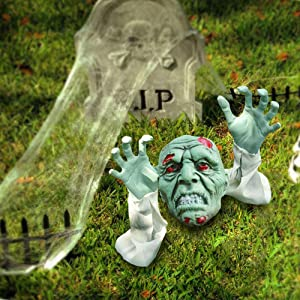 Halloween Outdoor Decorations, Zombie Yard Lawn Stakes with Head Face and Arms, Realistic Skeleton Bone Garden Props Decor, Scary Indoors Décor for Cemetery, Haunted House, Graveyard, Coffin Party