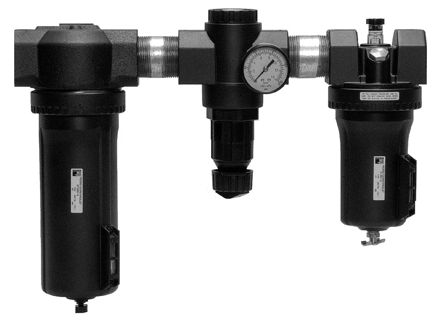 35 40 /µm Polyethylene Filter psi 0-100 Threaded Ports 1-1//4 NPT Threaded Ports 1-1//4 NPT 0-200 Metal Bowls 0-6.9 1000 Ross Controls C5H00C7412 High-Capacity Series Filter Regulator Plus Lubricator Gauge 0-14