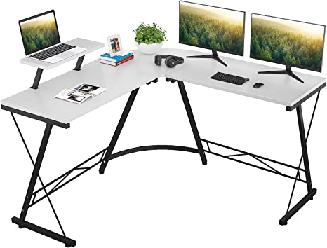 Amazon Com Foxemart L Shaped Desk Home Office Desk With Round Corner Modern Sturdy Computer Desk With Large Monitor Shelf For Workstation Bedroom Living Room White Kitchen Dining