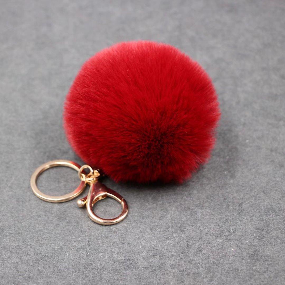 Keychain Beutel-Kette Auto-Anh?nger, Yogogo Kaninchen-Pelz-Kugel-Pl¨¹sch-Auto-Schl¨¹sselring (White 1) RICISUNG