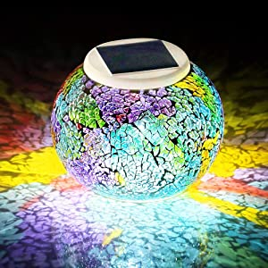 WSgift Color Changing Solar Powered Glass Mosaic Ball Led Garden Lights, Rechargeable Solar Table Lights, Outdoor Waterproof Solar Night Lights Table Lamps for Decorations, Ideal Gifts