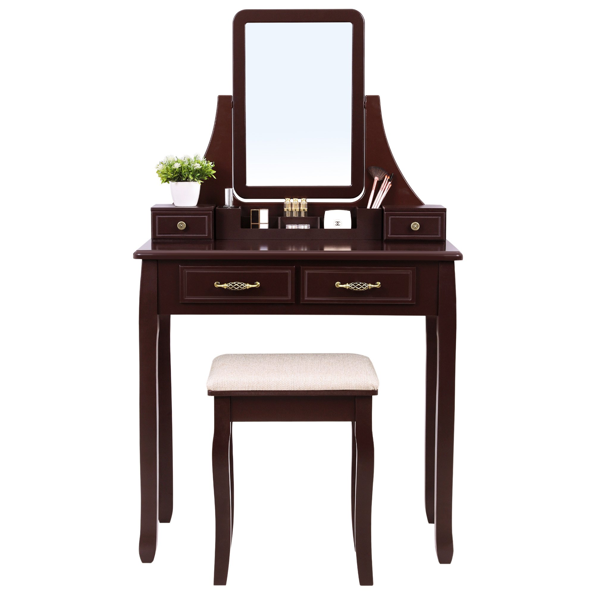 SONGMICS Vanity Set with Mirror 2 Large Sliding Drawers Makeup Dressing Table with Stool 6 Removable Organizers Brown URDT12K by SONGMICS