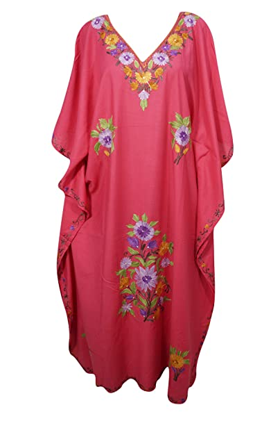 eedf70cdfa Image Unavailable. Image not available for. Color: Mogul Interior Womens  Caftan Dress Pink Bohemian Embroidered Kimono ...