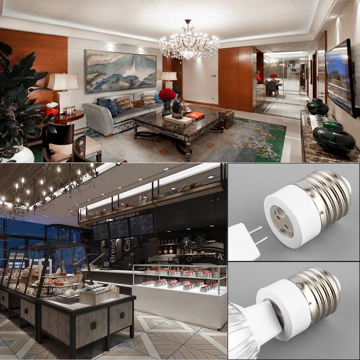 Funnyrunstore Facile da installare Sicuro da usare E27 a MR16 Portalampada Presa per lampadina Spina adattatore Prolunga Portalampada bianco