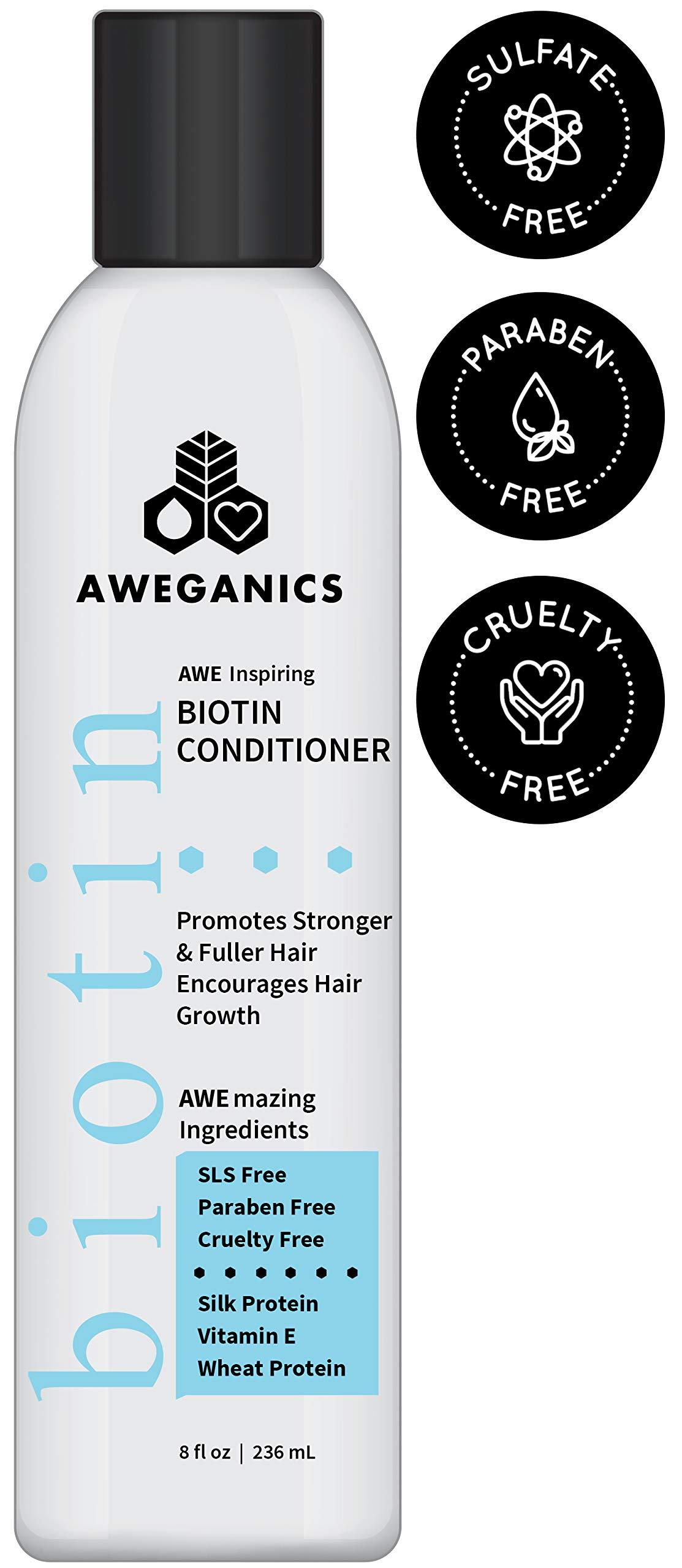 Aweganics Biotin Hair Growth Conditioner, AWE Inspiring Natural Thickening Volumizing Deep Conditioning Treatment for Hair Loss and Thinning Hair - SLS-Free, Paraben-Free, Cruelty-Free, Moisturizing by AWEGANICS