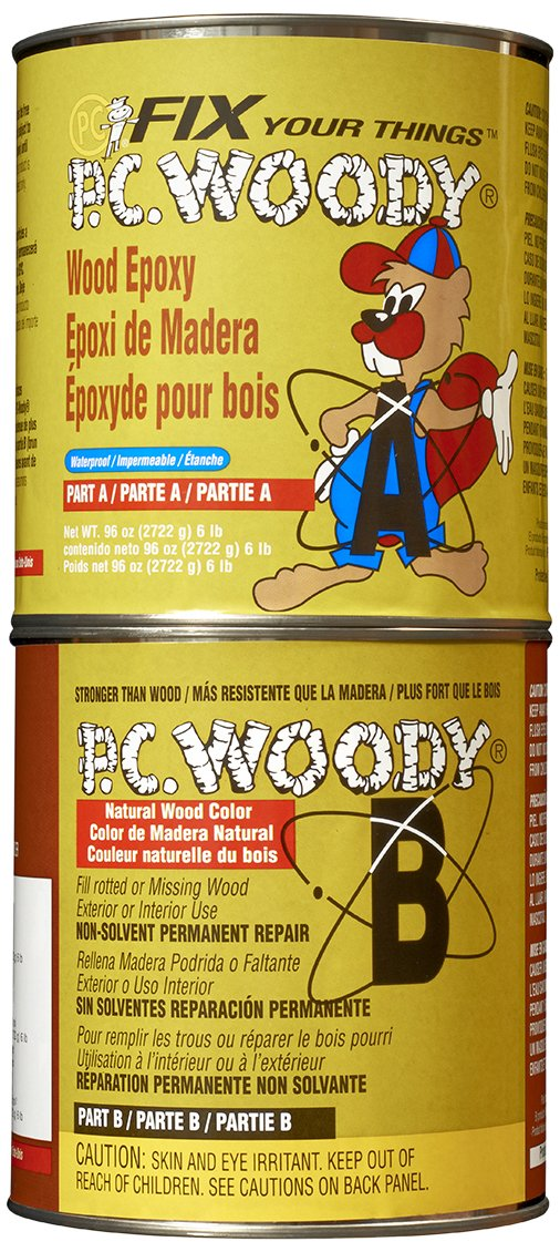 PC Products 128336 PC-Woody Two-Part Wood Repair Epoxy Paste, 96 oz in Two Cans, Tan