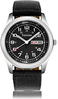 Tonnier Mens Weekender&Calendar Analog Canvas Strap Mans Watches